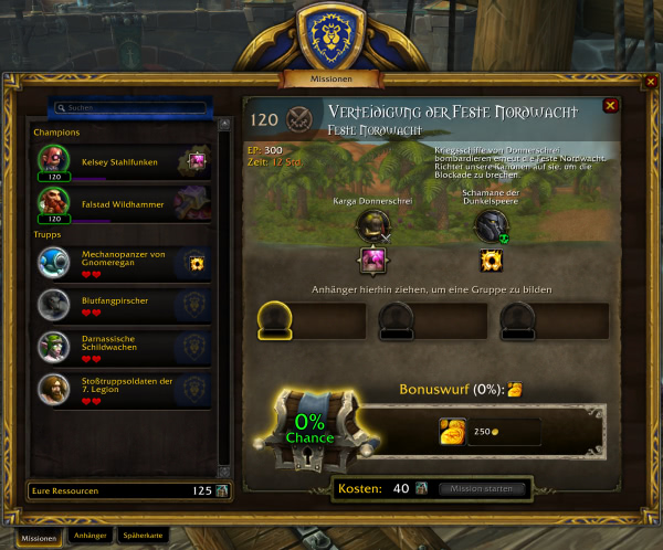 Missionen und Kriegsressourcen in Battle for Azeroth