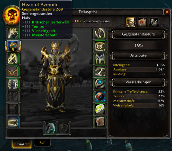 Charakter-Interface in Battle for Azeroth
