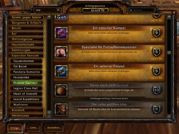 World of Warcraft - Expansion Features in BfA - Änderungen am Erfolgs-Fenster