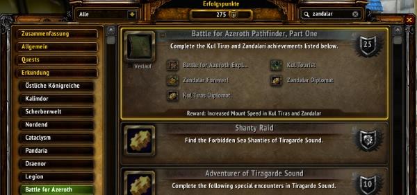 World of Warcraft - Klarstellung zum Battle for Azeroth Pfadfinder Erfolg