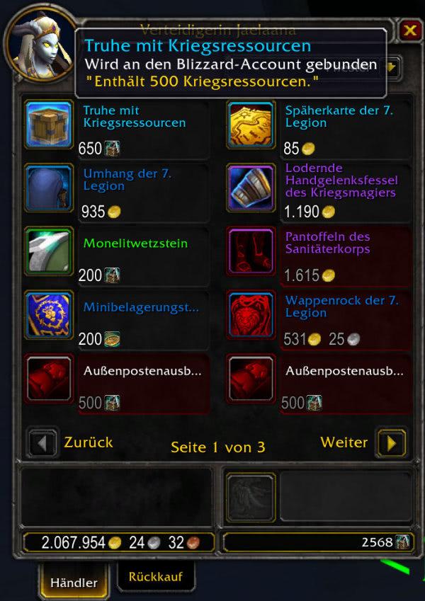 World of Warcraft - Kriegsressourcen mit Patch 8.1.5 handelbar