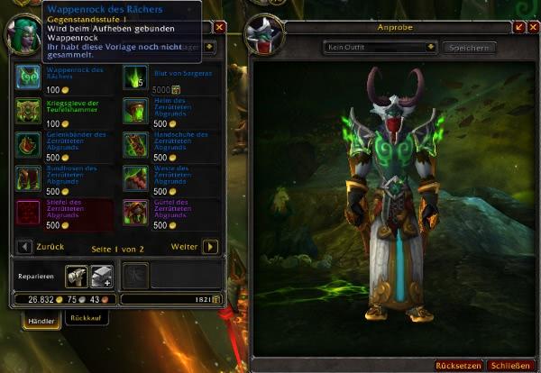 World of Warcraft - Wappenrock des Rächers - Wappenrock exklusiv für Dämonenjäger