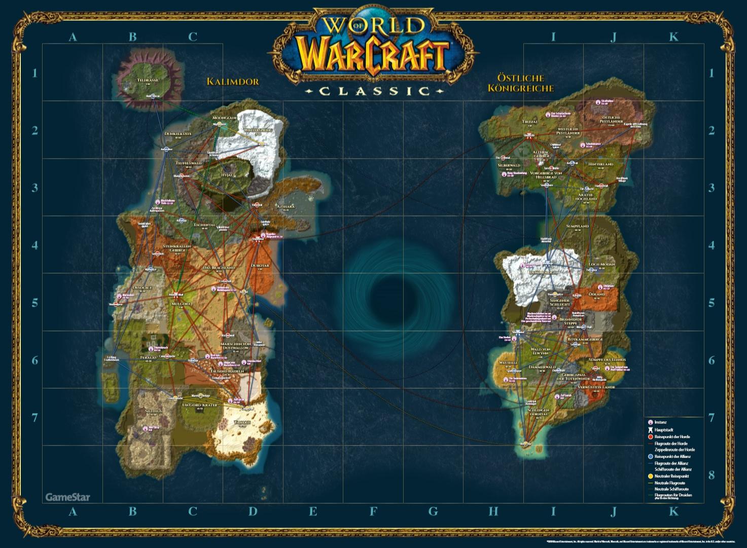 WoW Classic: Weltkarte mit Flugpunkten als PDF-Datei