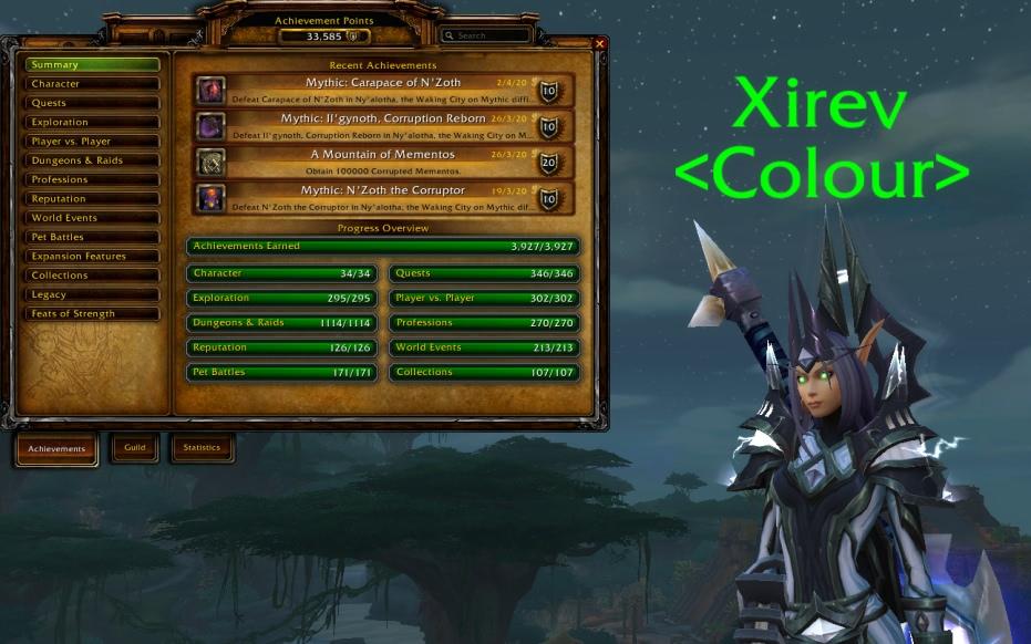 Spieler Xirev sammelt alle Erfolge in Battle for Azeroth