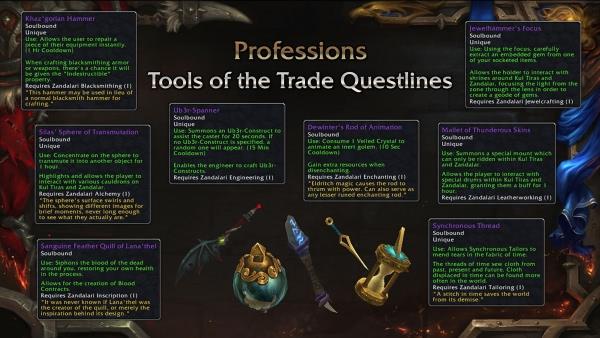 World of Warcraft - Patch 8.1.5: Questreihen und Werkzeuge für alle Berufe
